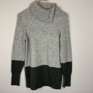 GAP Gray Color Block Button Collar Turtleneck S